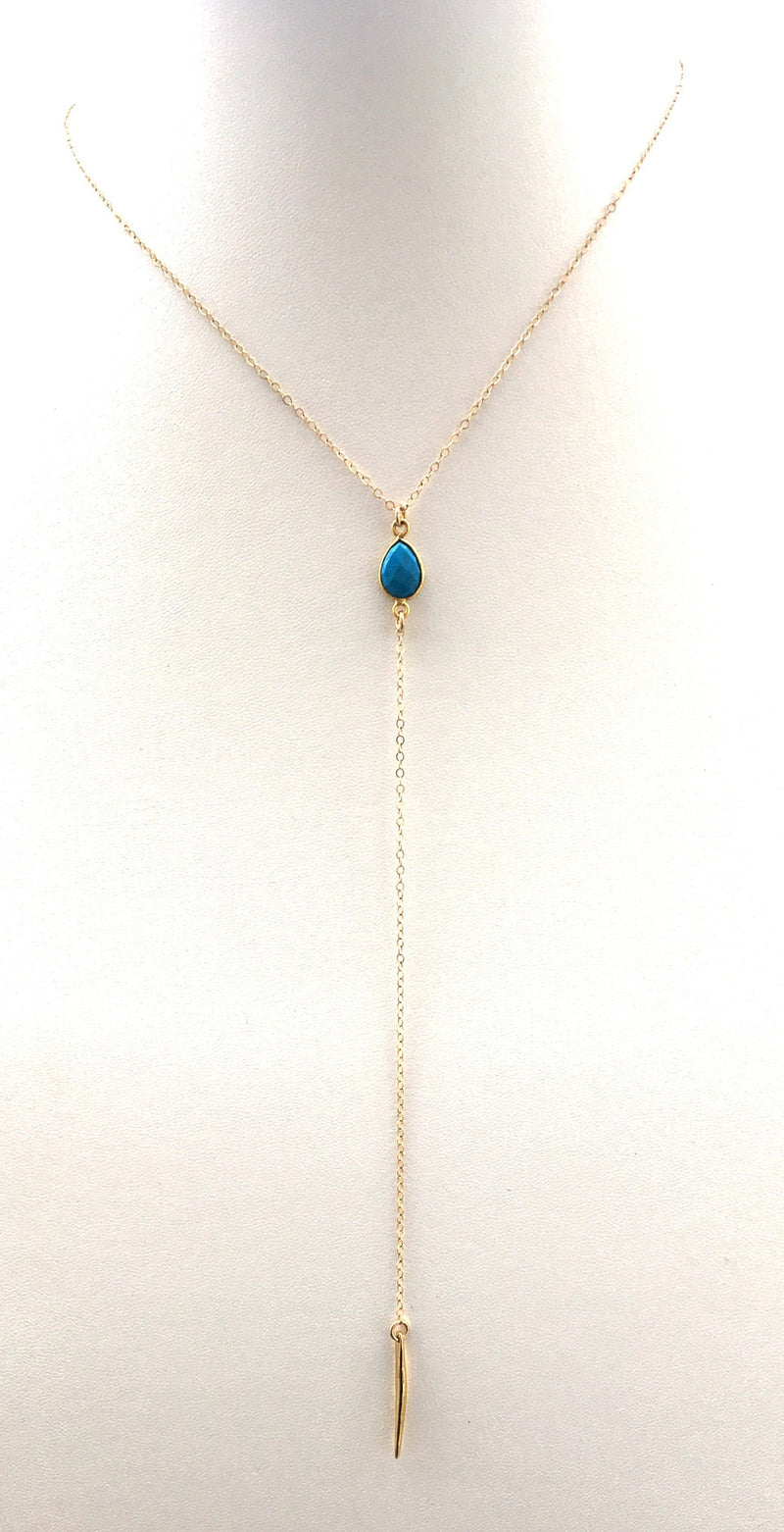 Turquoise Spiked Lariat