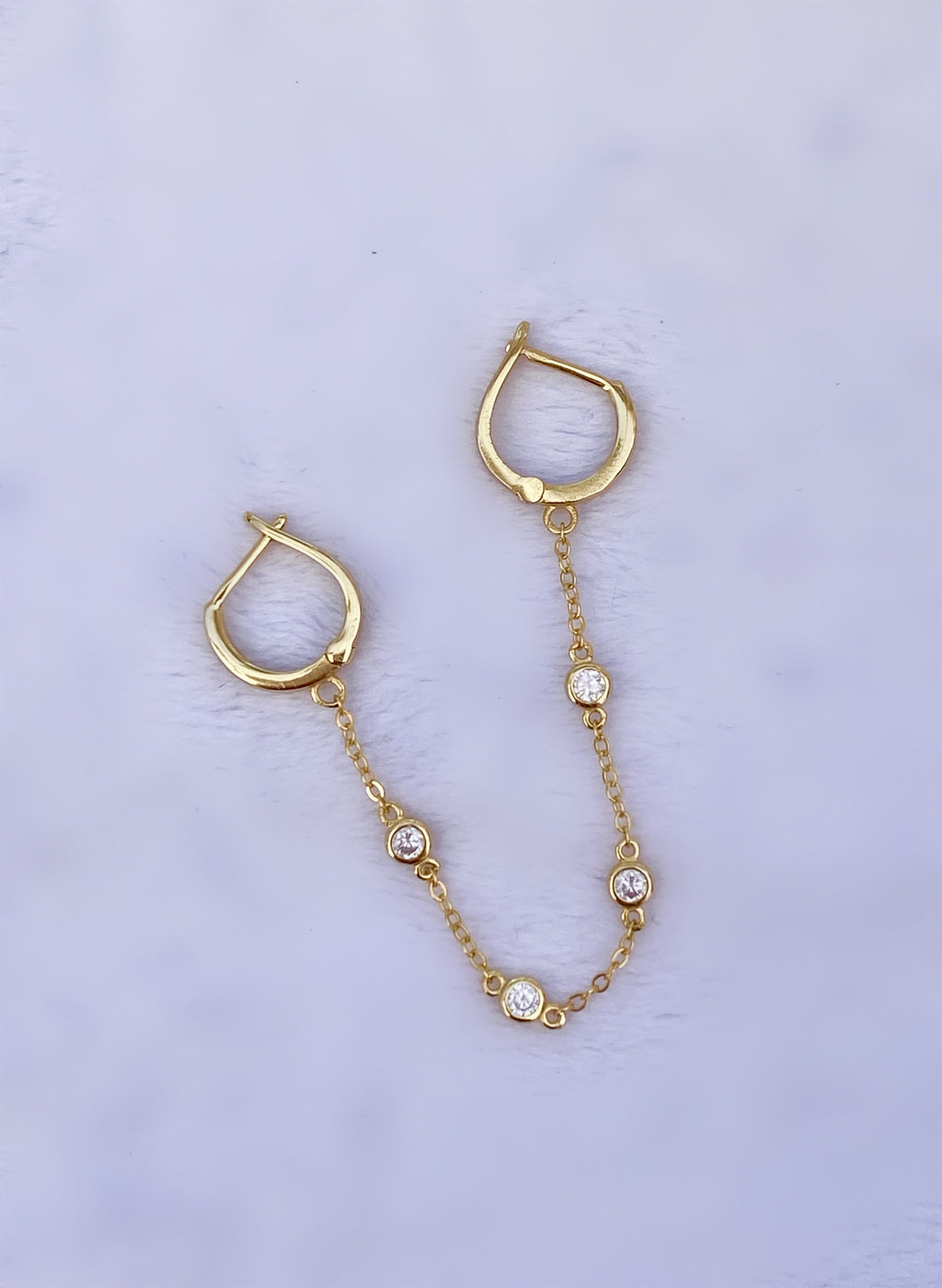 CZ Bezel Double Huggie with Chain Earrings