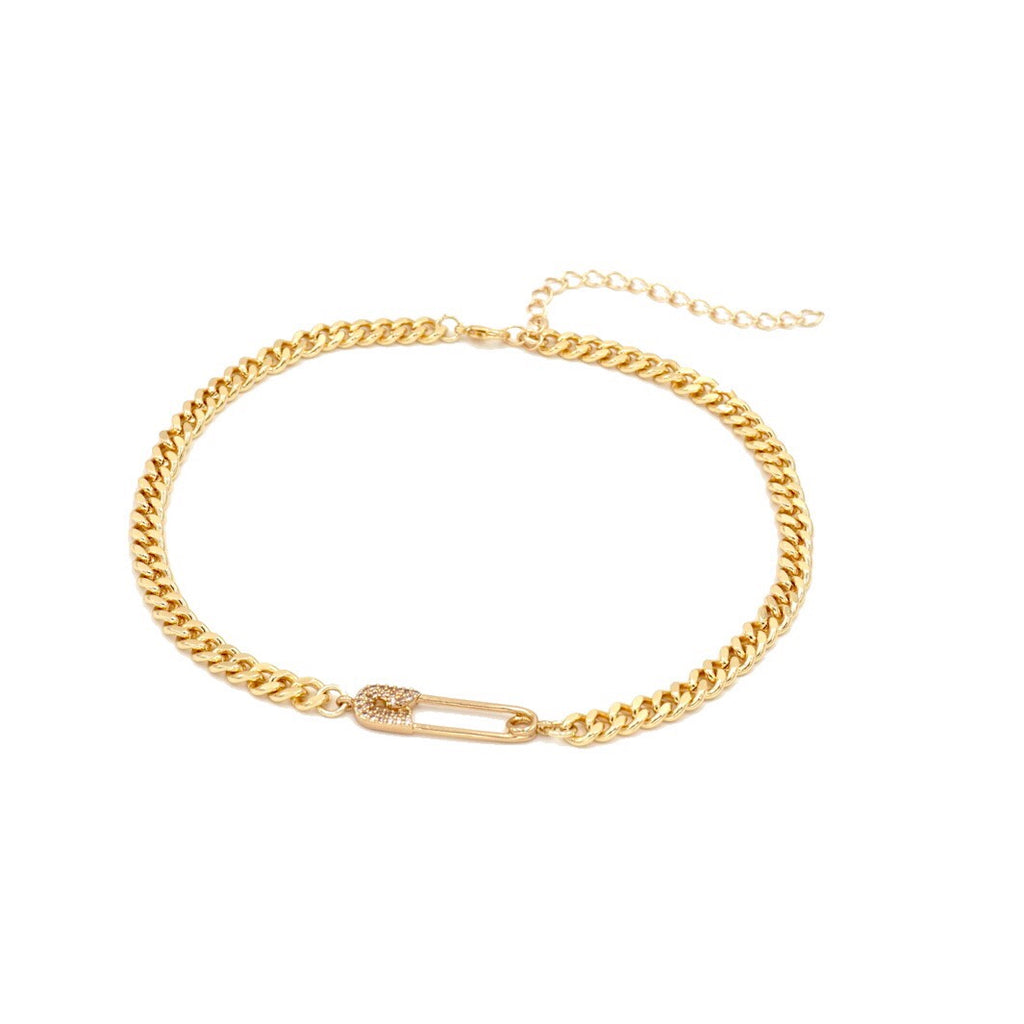 Slim Thicc Chain Gold Safety Pin Choker Necklace Cute Chic