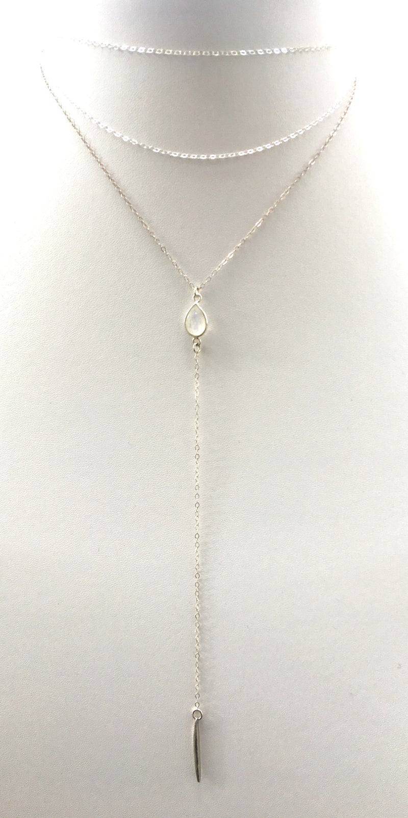 Moonstone Spiked Lariat, Sterling Silver