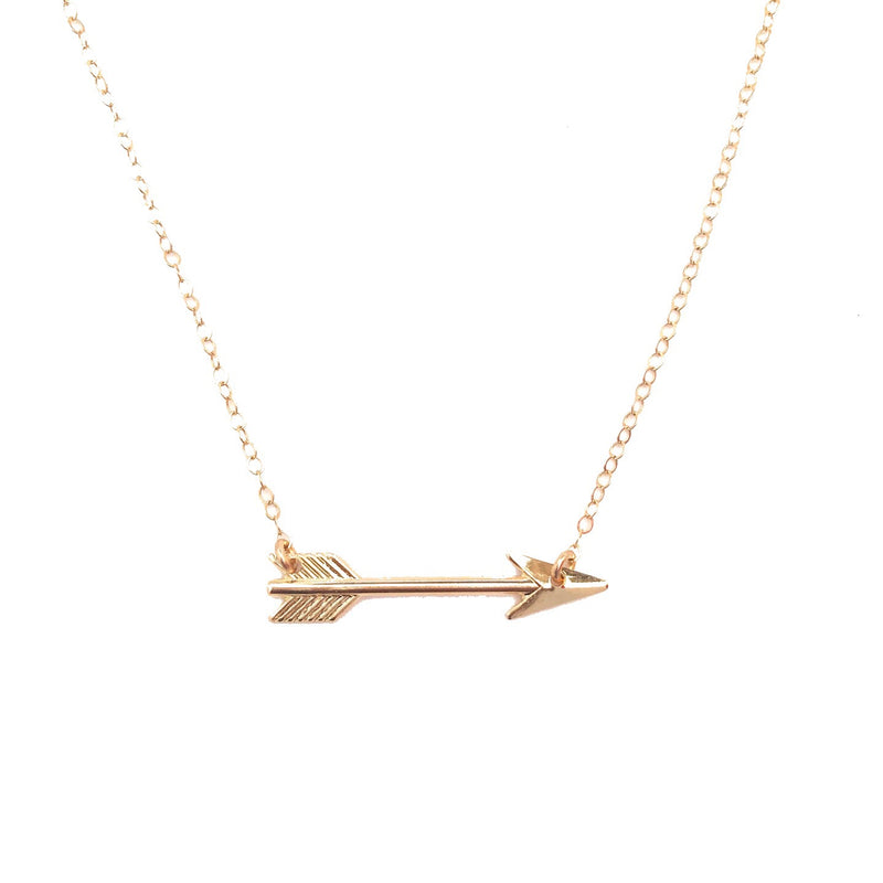 Dainty Arrow Necklace, Gold Filled