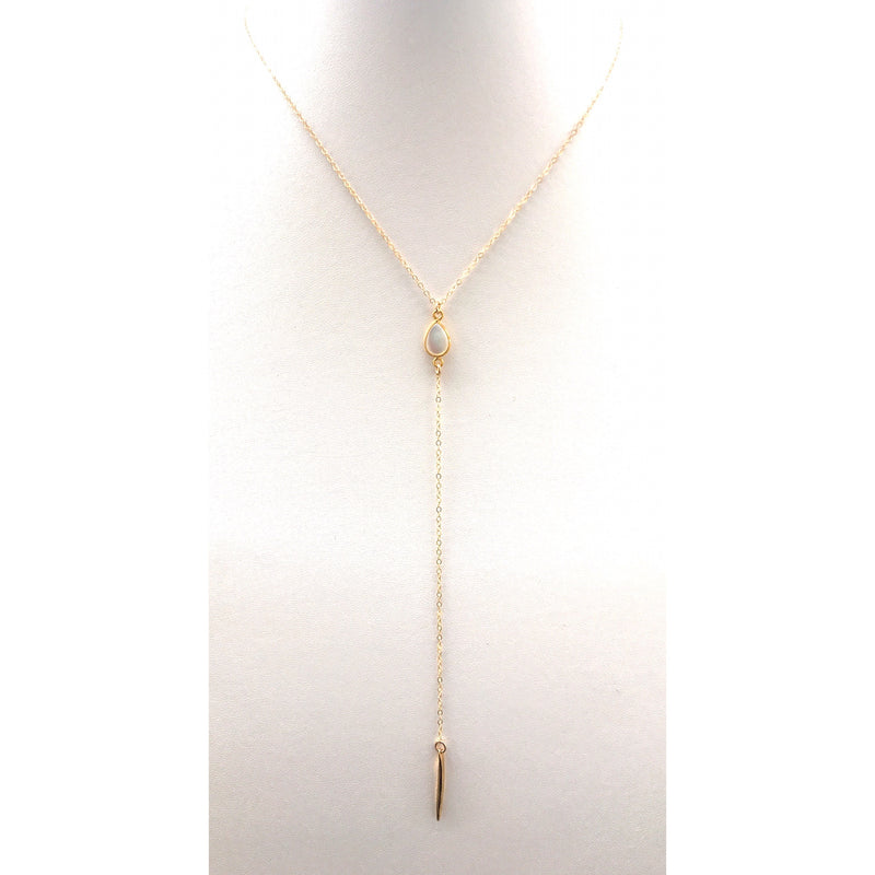 Moonstone Spiked Lariat, Gold