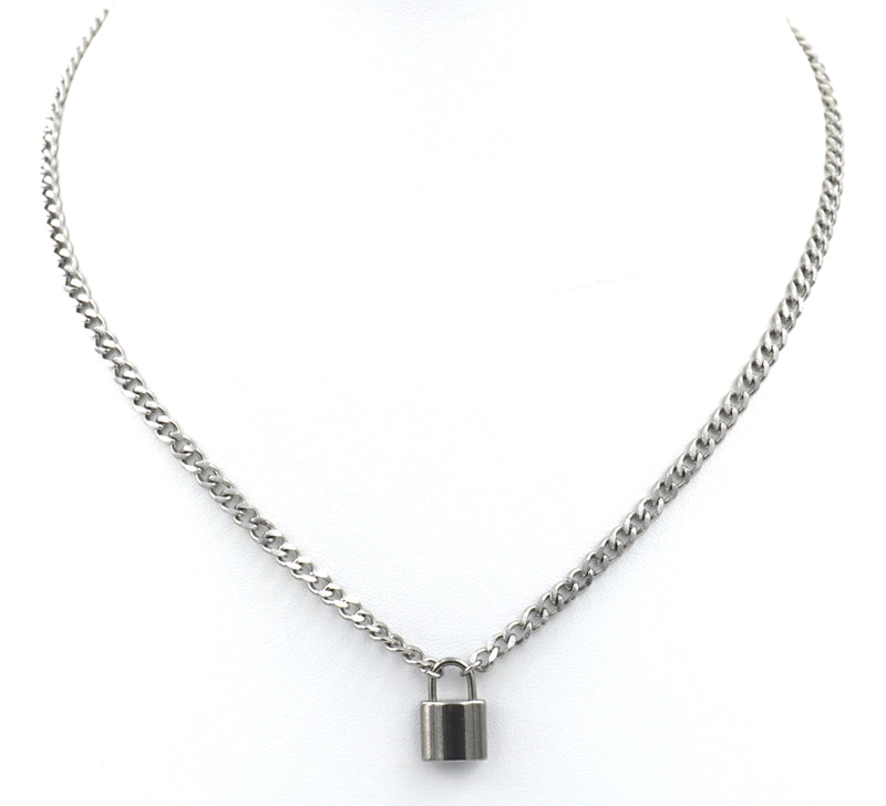 stainless steel lock necklace cuban curb chain