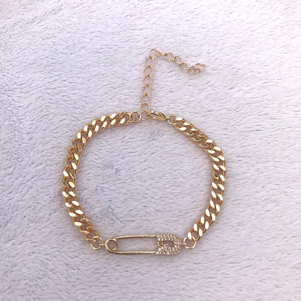 Gold Safety Pin Bracelet Cute Slim Thicc Chain Curb