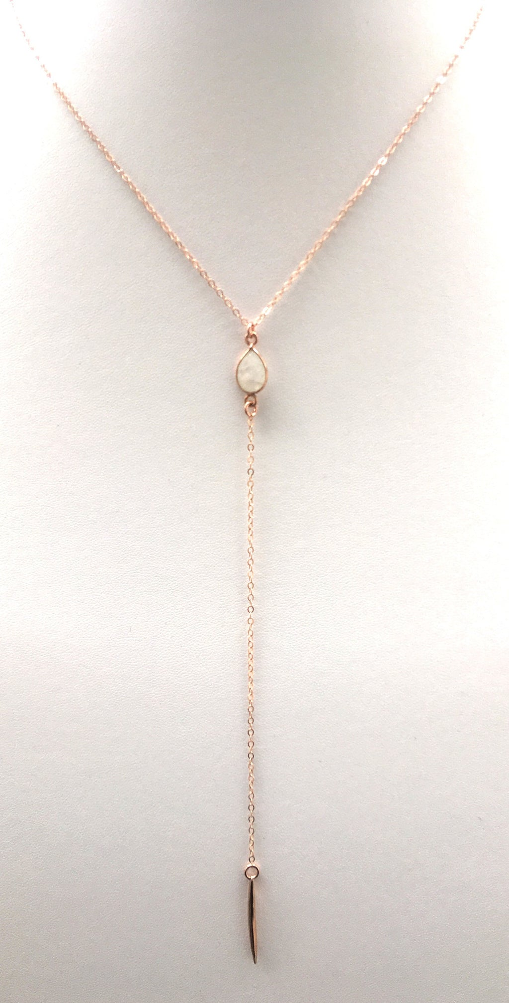 Moonstone Spiked Lariat, Rose Gold