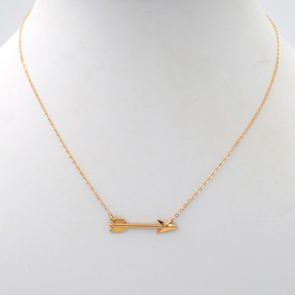 Arrow Necklace, Gold Filled