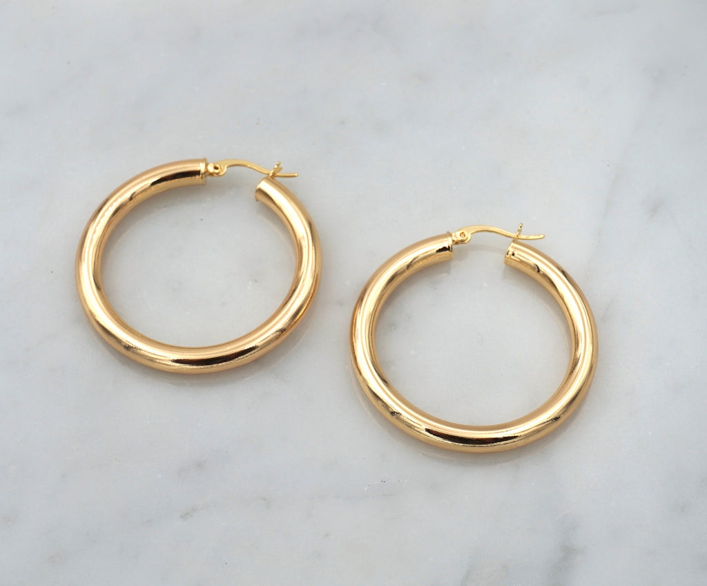 large medium thick chunky gold hoops hoop earring click hollow