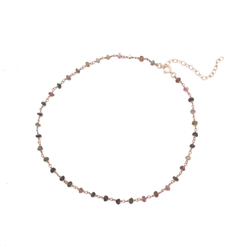 Watermelon Tourmoline Rose Gold Choker