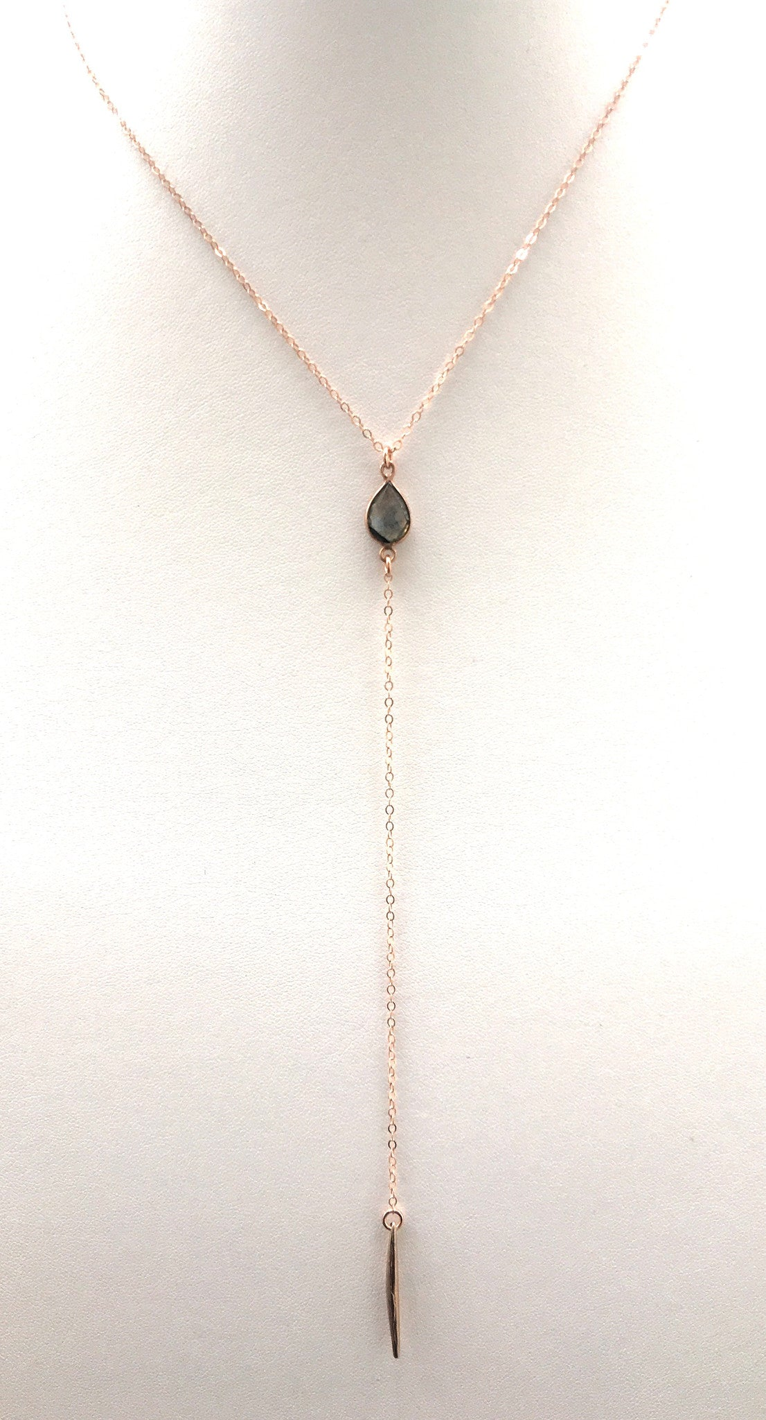 Labradorite Spiked Lariat, Rose Gold