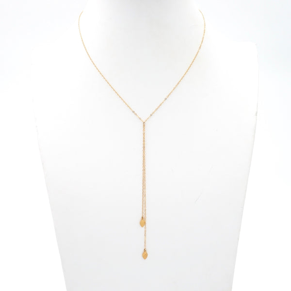 Double Leaf Dainty Lariat Necklace