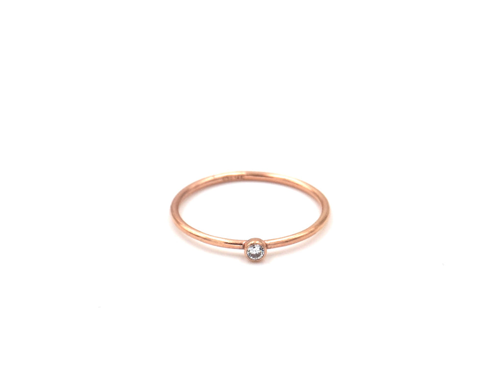 Rose Gold Filled Stacking Ring With CZ