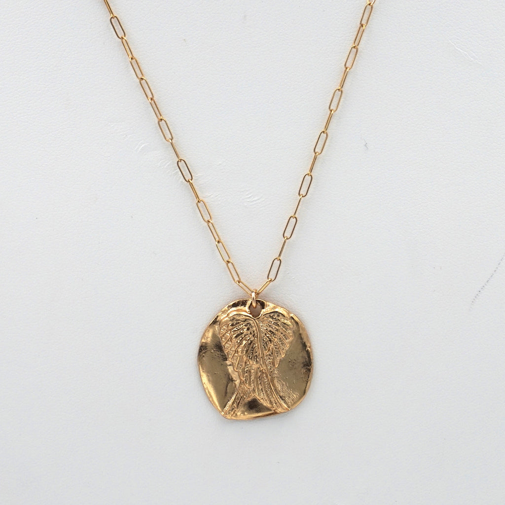 Angel Wings Coin Pendant Necklace