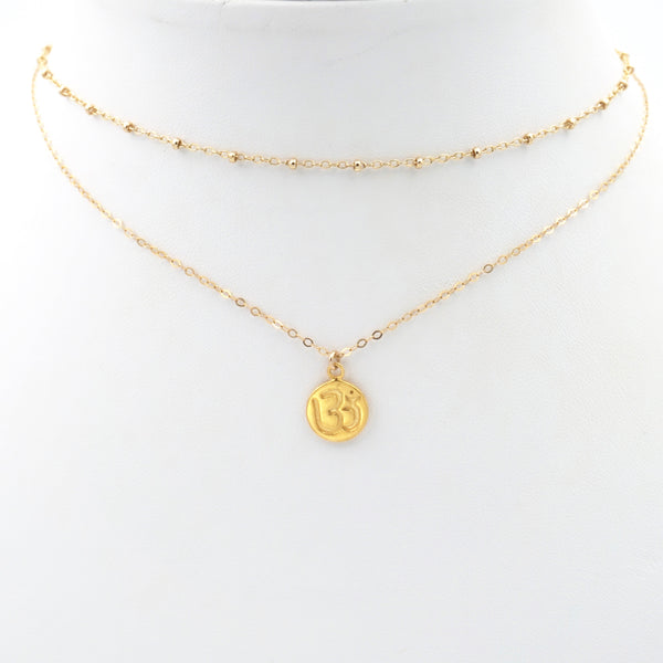 Ohm Double Layered Coin Pendant Necklace