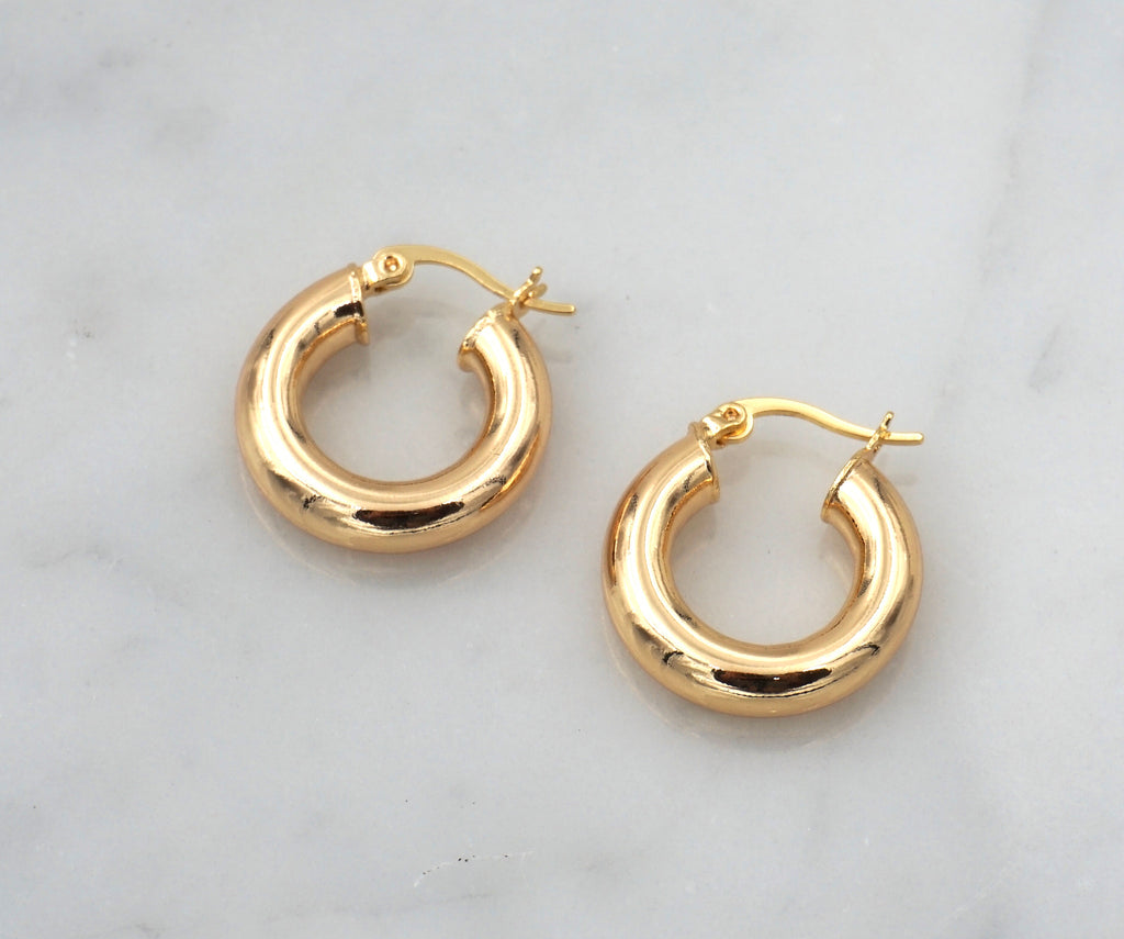 small thick chunky gold hoops hoop earring click hollow