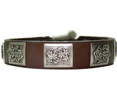 Collier Leeds Boone leather dog collar