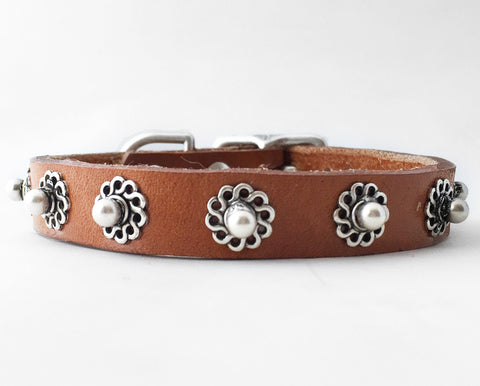 Collier Leeds Bud leather dog collar