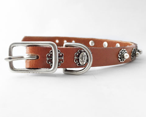 Collier Leeds Bud leather small dog collar