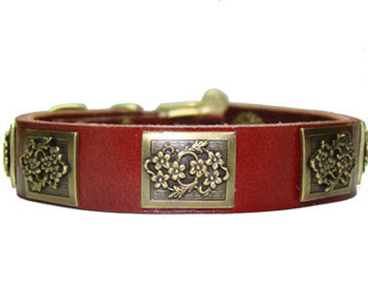 chestnut red leather dog collar