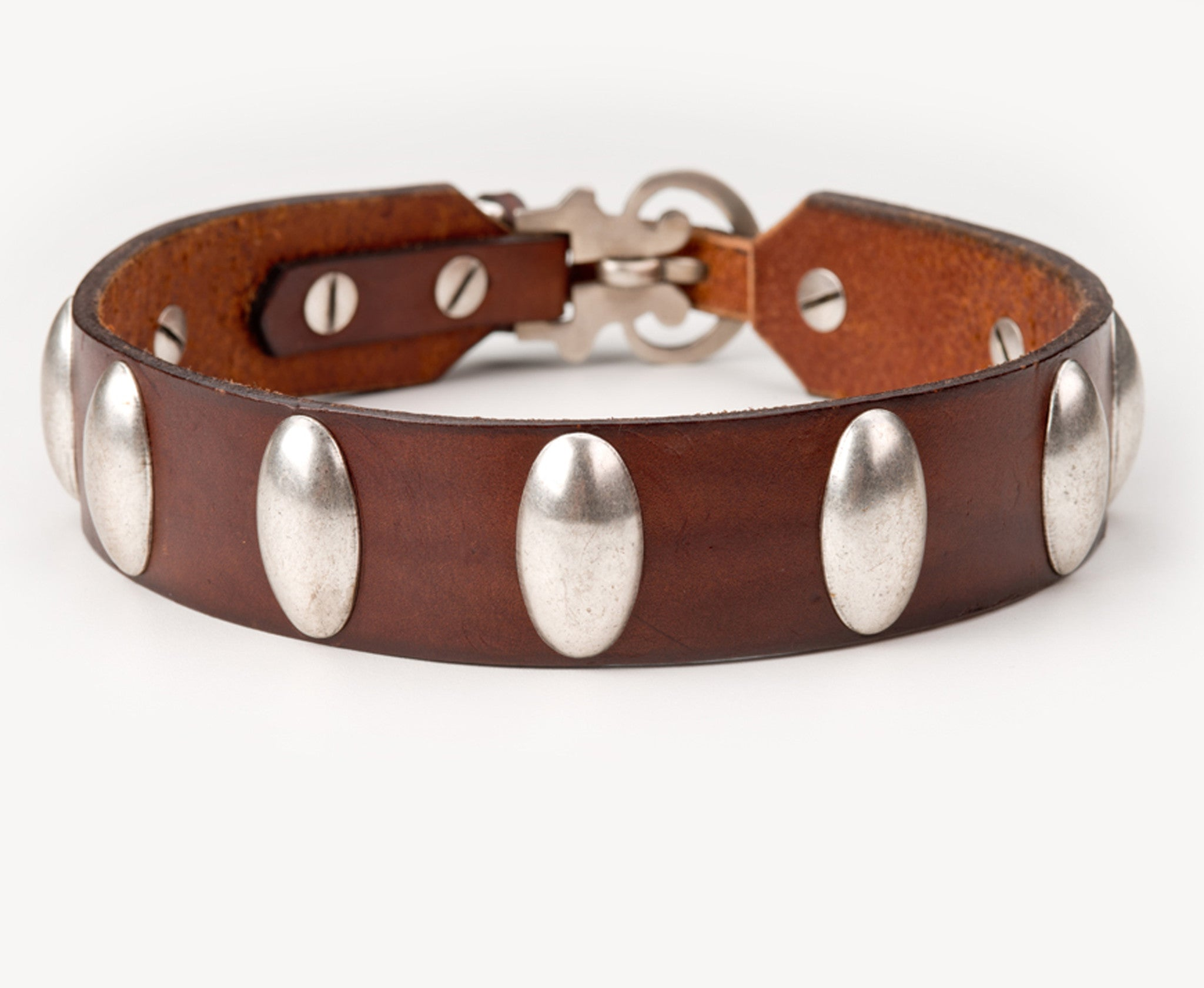 Collier Leeds Gordon leather dog collar