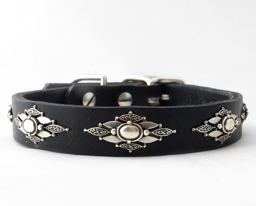 Collier Leeds Icy leather dog collar