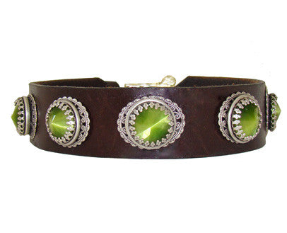 brown leather dog collar with crystals