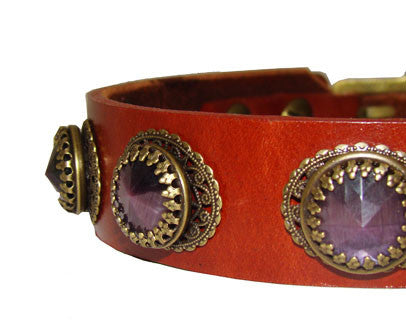 chestnut red leather dog collar with crystals