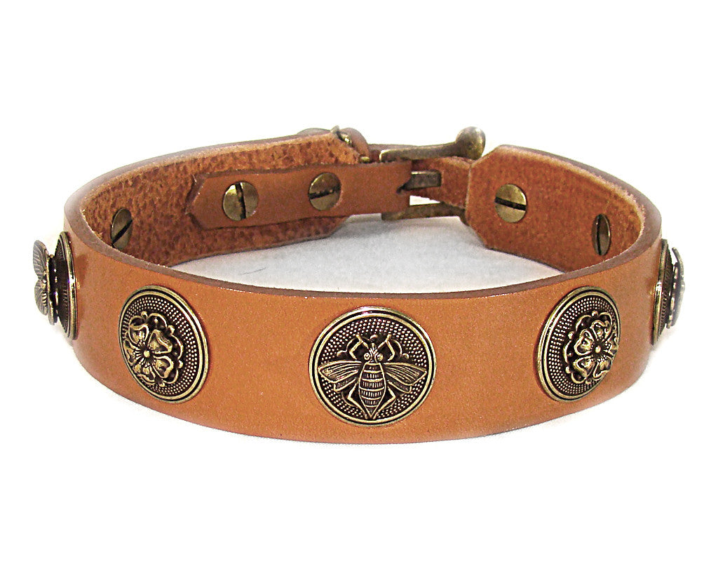 london tan leather dog collar with bees flowers and butterflies