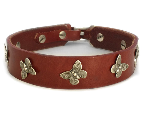 chestnut red leather dog collar with butterflies