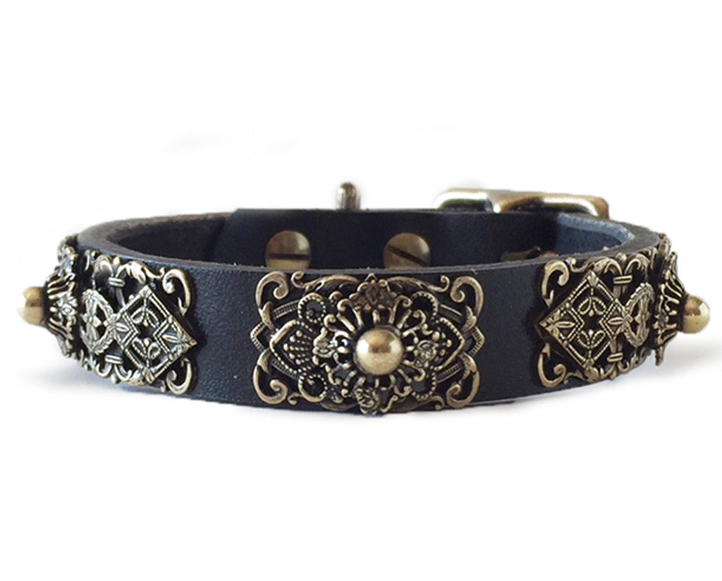 Collier Leeds Queenie small leather dog collar