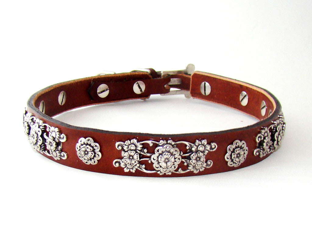 Collier Leeds Sassy leather dog collar