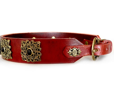 Collier Leeds Stella leather dog collar