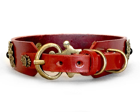 large dog chestnut red leather dog collar