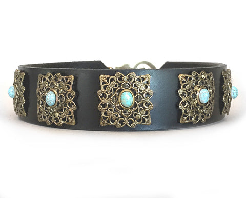 large dog leather dog collar with turquoise stones