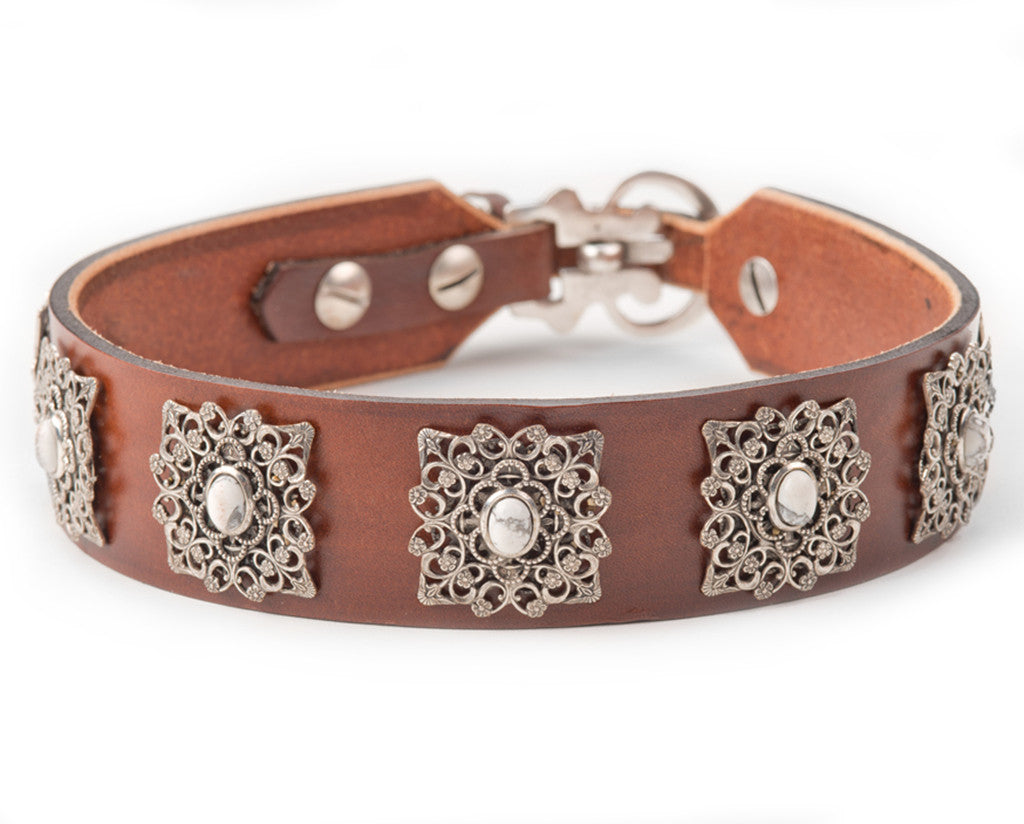 large dog brown leather dog collar
