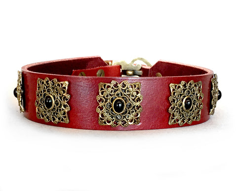 large dog chestnut red leather dog collar with black onyx stones