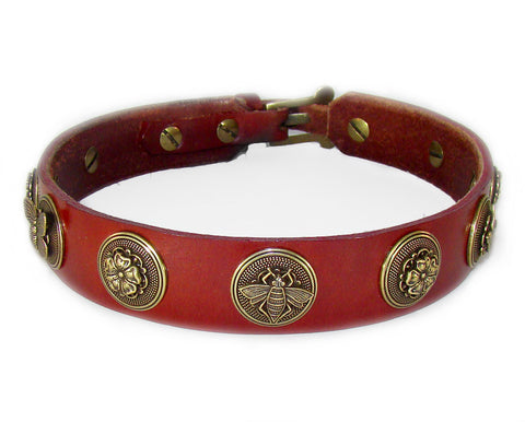 chestnut red leather dog collar with bees flowers butterflies