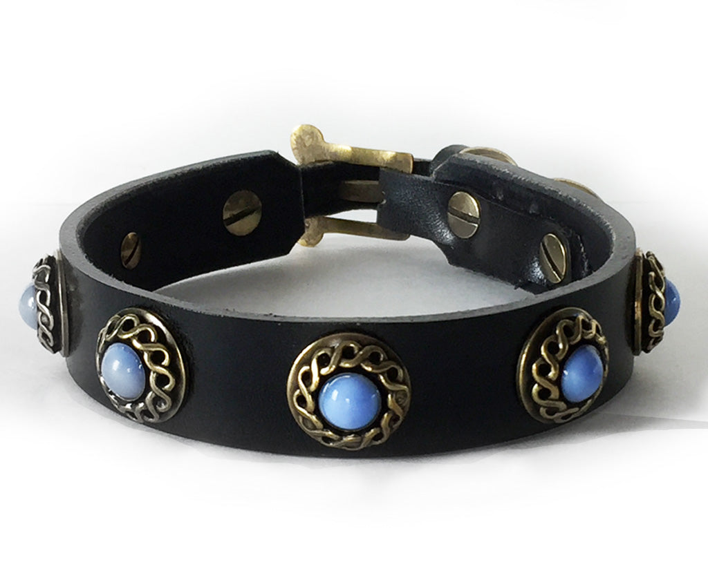 black leather dog collar with blue cat's eye stone
