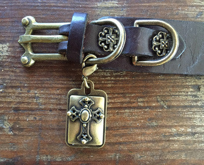 Collier Leeds Cross dog collar charm