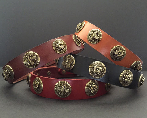leather dog collar with bees flowers butterflies