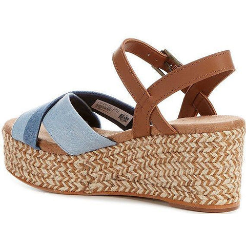 Woman's Toms® Willow - Navy Light Weight Two Tone Denim/Tan Leather Wedge