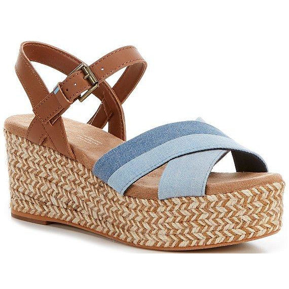 TOMS Willow Two Tone Denim Espadrille Wedges