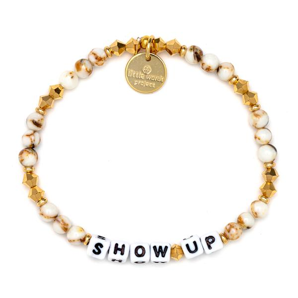 Little Words Project Fall For Me - Show Up - White/Gold Marble