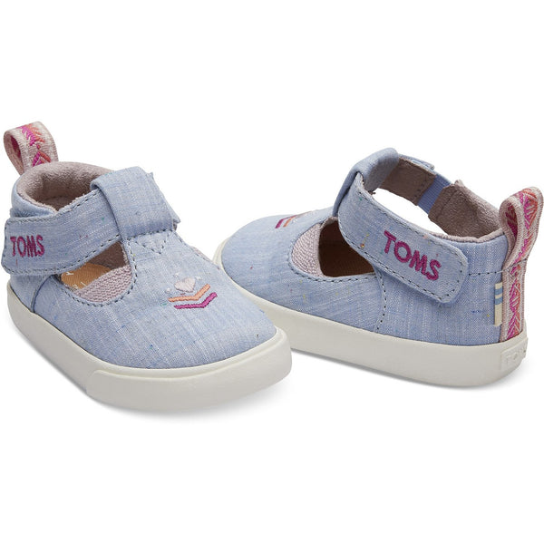 Light Bliss Blue Speckled Chambray Early Walker Joon Flats