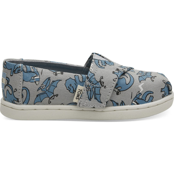 Grey Blue Dino Glow In The Dark Print Tiny TOMS Classics