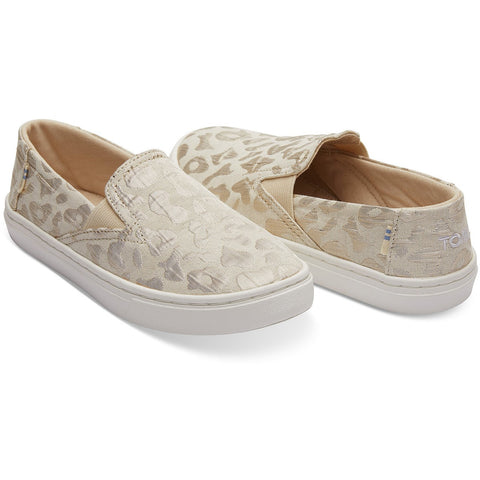 Rose Gold Metallic Woven Cheetah Tiny TOMS Luca Slip-Ons