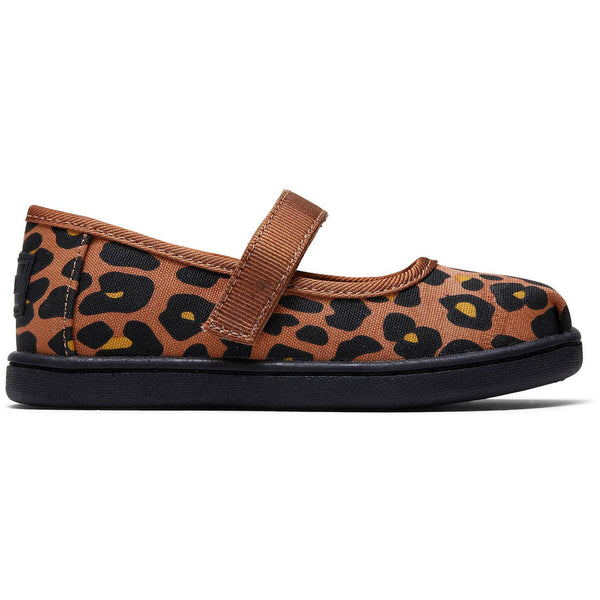Toffee Cheepard Print Tiny TOMS Mary Jane Flats