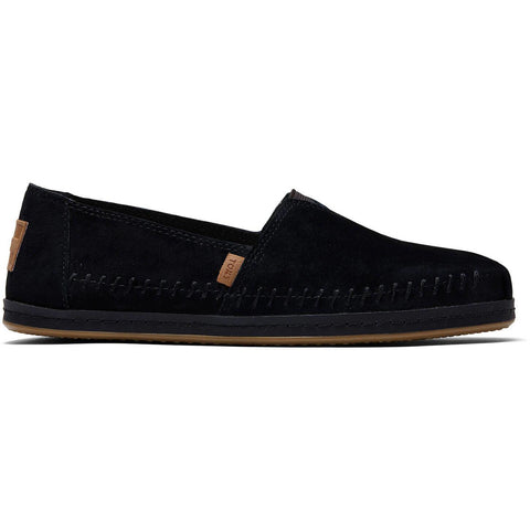 Black Suede Leather Wrap Women's Classics TOMS