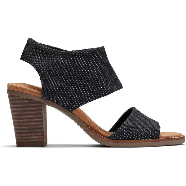 Black Foil Woven Women's Majorca Cutout Sandals
