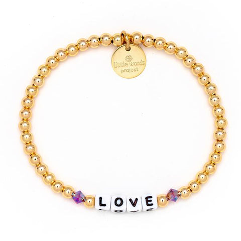 Little Words Project Gold Filled Crystal Collection - Love - White