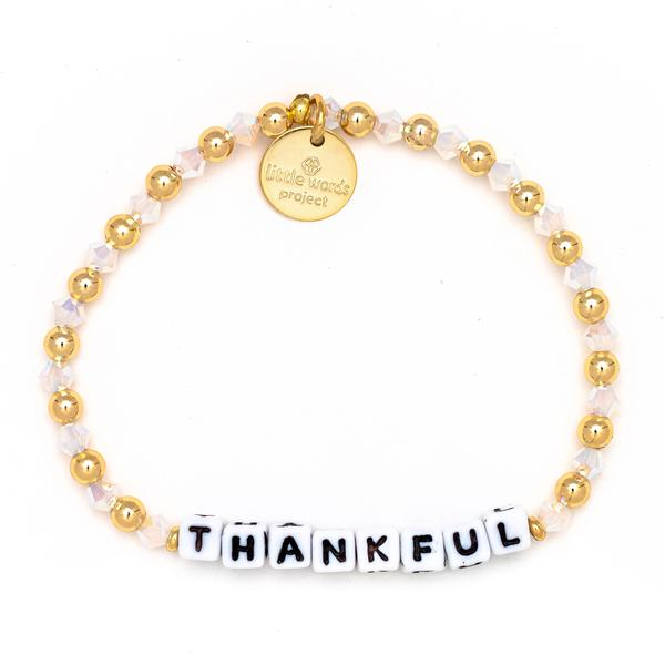 Little Words Project Gold Filled Crystal Collection - Thankful - White